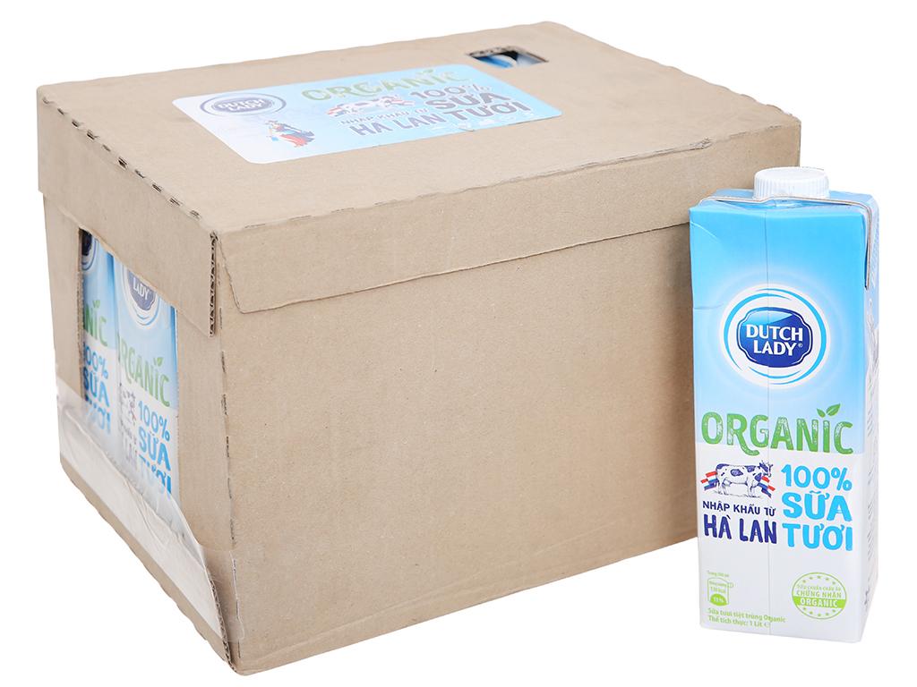 Thùng 12 hộp sữa tươi tiệt trùng Dutch Lady 100% Organic nguyên chất 1 lít 1