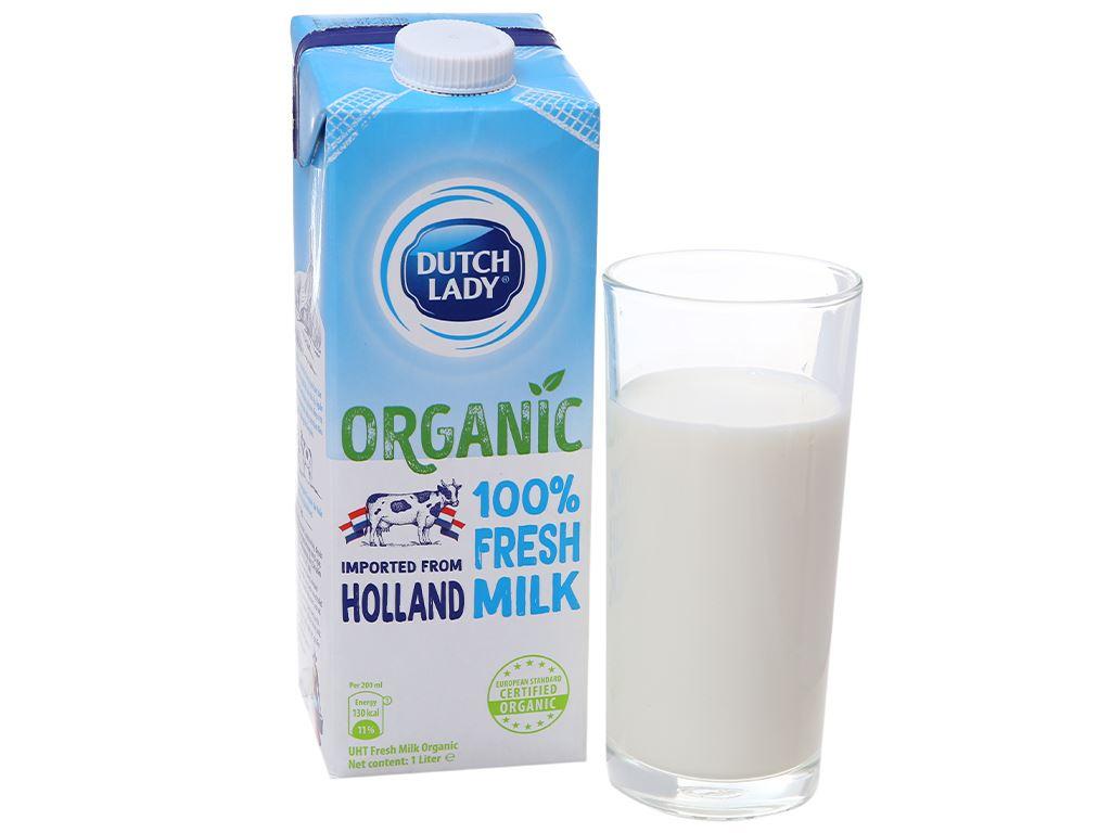 Thùng 12 hộp sữa tươi tiệt trùng Dutch Lady 100% Organic nguyên chất 1 lít 2