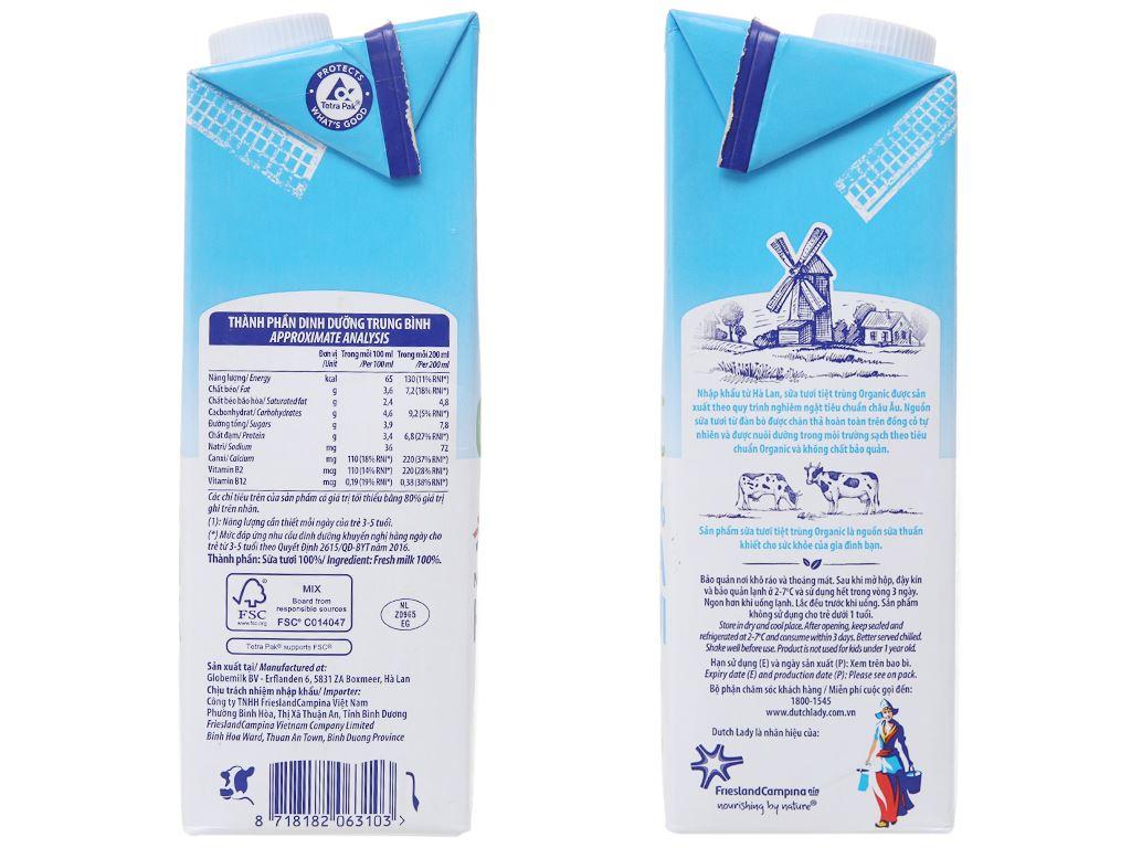 Thùng 12 hộp sữa tươi tiệt trùng Dutch Lady 100% Organic nguyên chất 1 lít 4