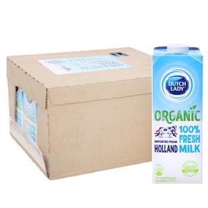 Thùng 12 hộp sữa tươi tiệt trùng Dutch Lady 100% Organic nguyên chất 1 lít