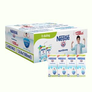 Thùng 48 hộp sữa tiệt trùng ít đường Nestlé NutriStrong 180ml