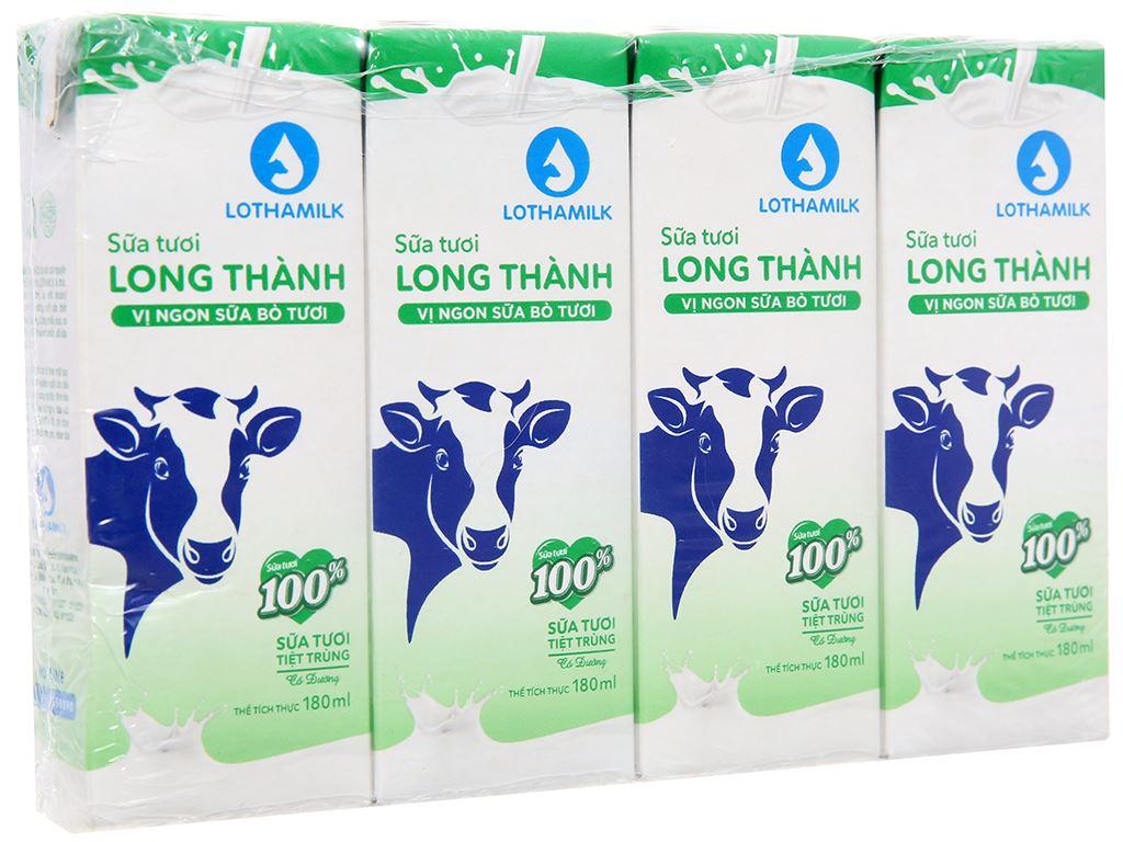 Lốc 4 hộp sữa tươi tiệt trùng có đường Lothamilk 180ml 1