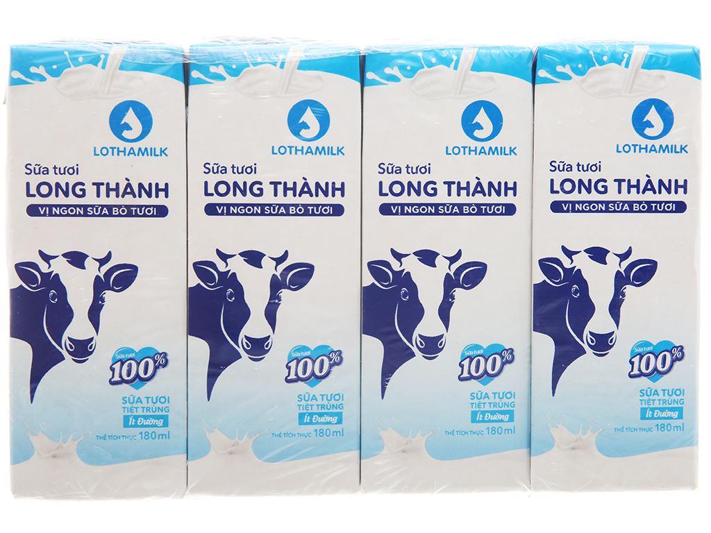 Lốc 4 hộp sữa tươi tiệt trùng Lothamilk ít đường 180ml 1