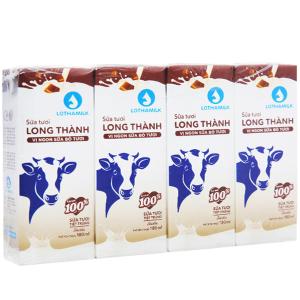 Lốc 4 hộp sữa tươi tiệt trùng socola Lothamilk 180ml