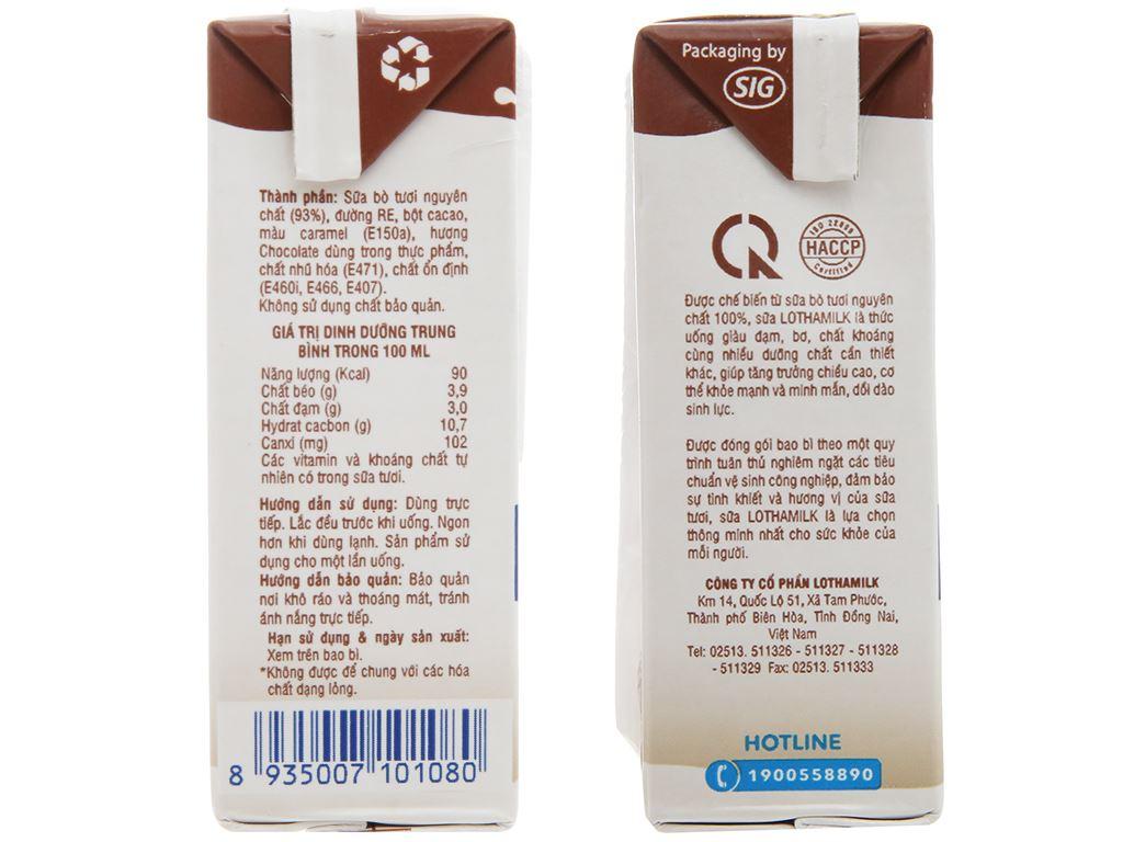Lốc 4 hộp sữa tiệt trùng Lothamilk sô cô la 110ml 4