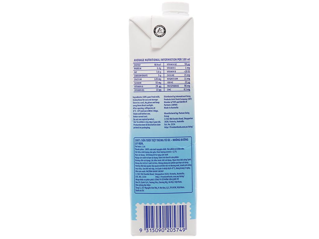Sữa tươi tiệt trùng LiF Kun không đường hộp 1 lít 3