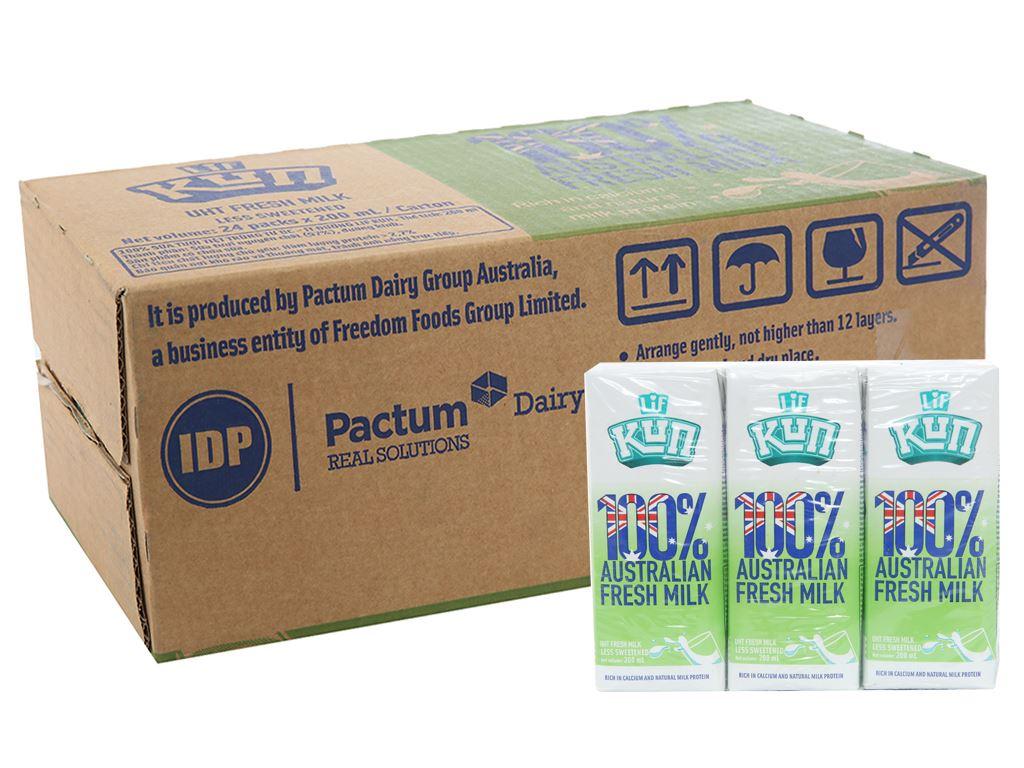 Thùng 24 hộp sữa tươi tiệt trùng ít đường LiF Kun 200ml 1