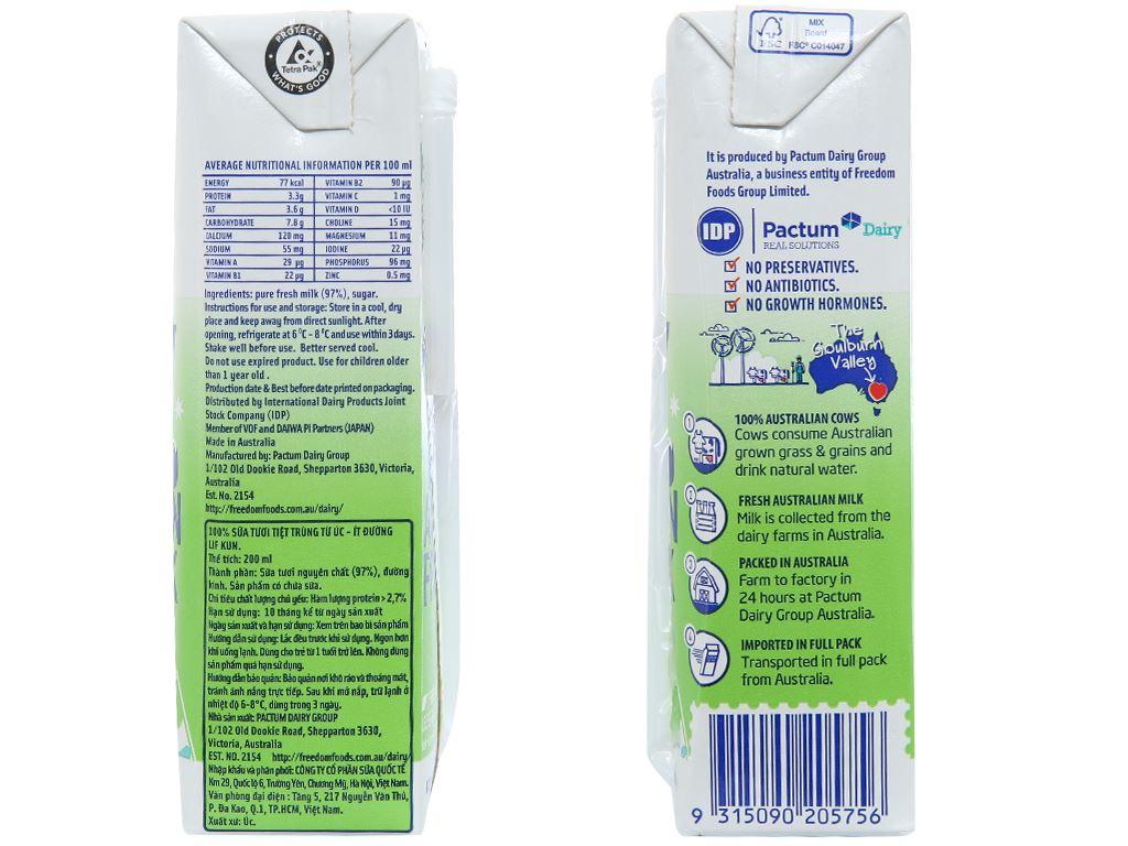 Thùng 24 hộp sữa tươi tiệt trùng ít đường LiF Kun 200ml 4