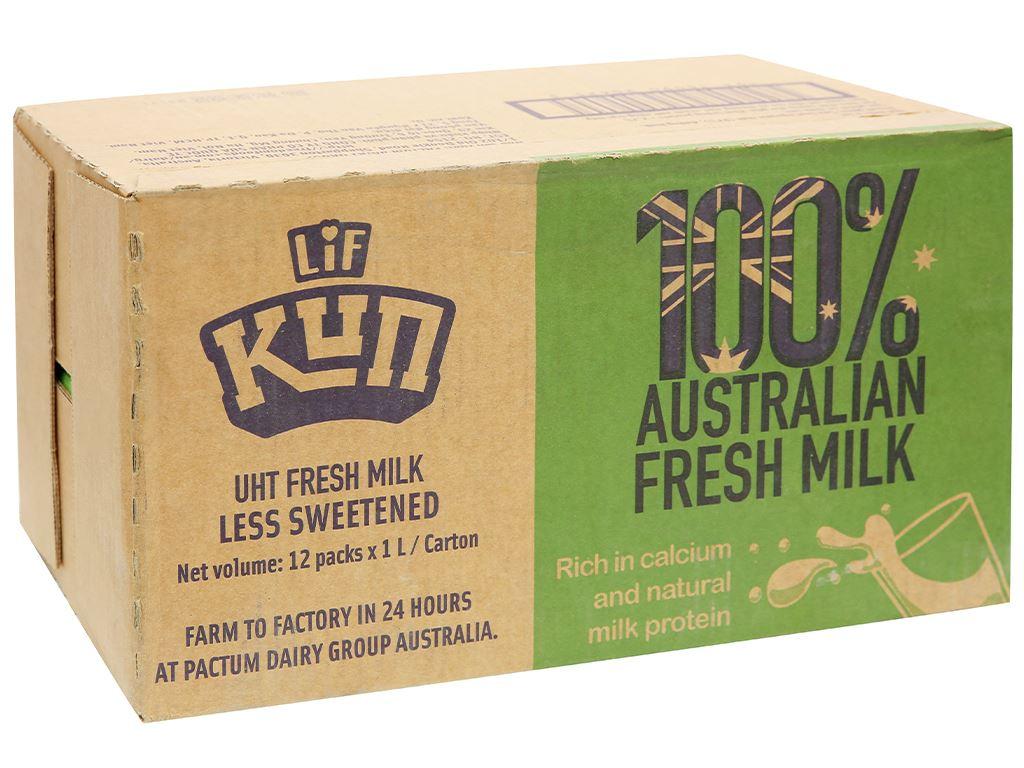 Thùng 12 hộp sữa tươi tiệt trùng ít đường LiF Kun 1 lít 1