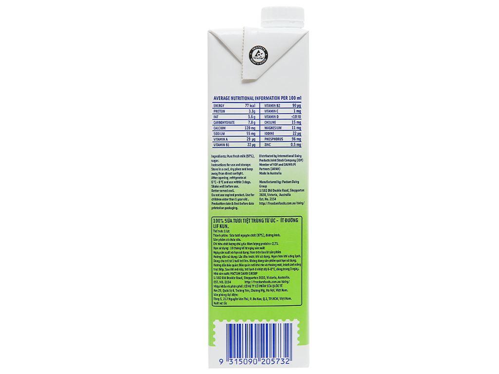 Thùng 12 hộp sữa tươi tiệt trùng ít đường LiF Kun 1 lít 10