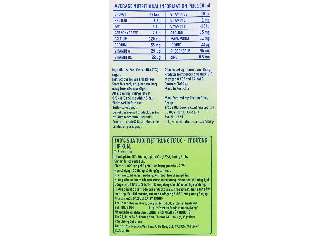 Thùng 12 hộp sữa tươi tiệt trùng ít đường LiF Kun 1 lít 12