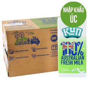 Thùng 12 hộp sữa tươi tiệt trùng Kun ít đường 1 lít