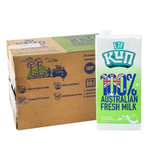 Thùng 12 hộp sữa tươi tiệt trùng LiF Kun ít đường 1 lít