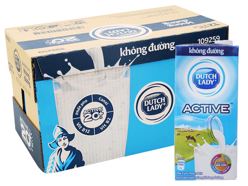 Thùng 12 hộp sữa tươi tiệt trùng Dutch Lady không đường 1 lít 1