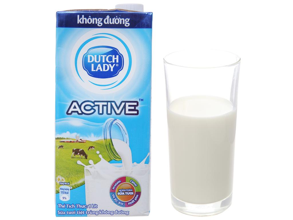 Thùng 12 hộp sữa tươi tiệt trùng Dutch Lady không đường 1 lít 2