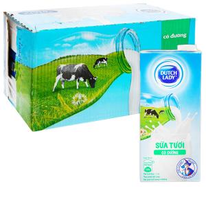 Thùng 12 hộp sữa tươi tiệt trùng có đường Dutch Lady 1 lít