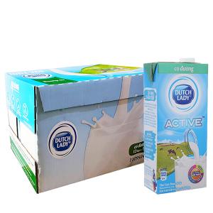 Thùng 12 hộp sữa tươi tiệt trùng Dutch Lady Active có đường 1 lít