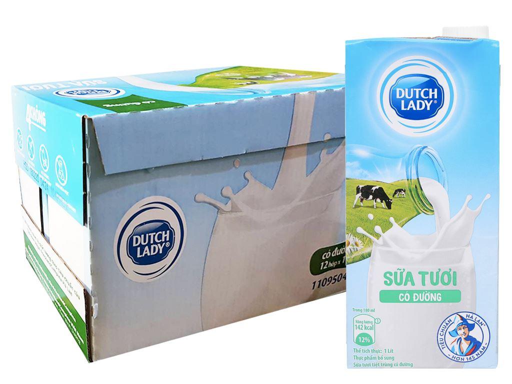Thùng 12 hộp sữa tươi tiệt trùng có đường Dutch Lady 1 lít 1