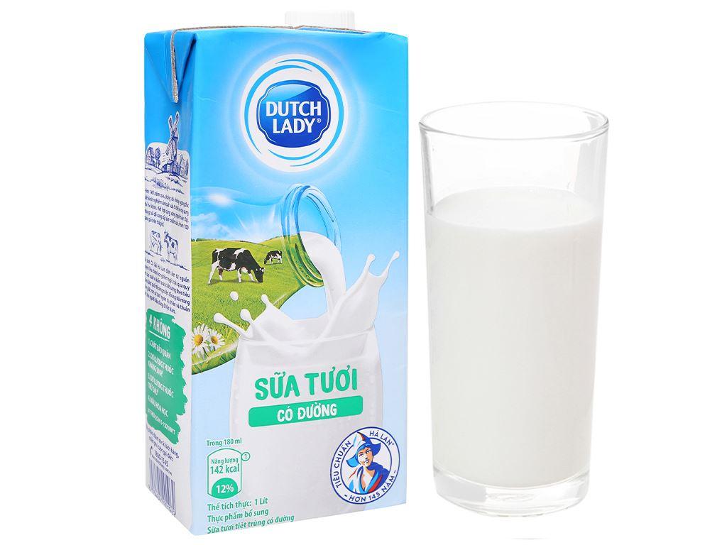 Thùng 12 hộp sữa tươi tiệt trùng có đường Dutch Lady 1 lít 7