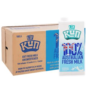 Thùng 12 hộp sữa tươi tiệt trùng LiF Kun không đường 1 lít