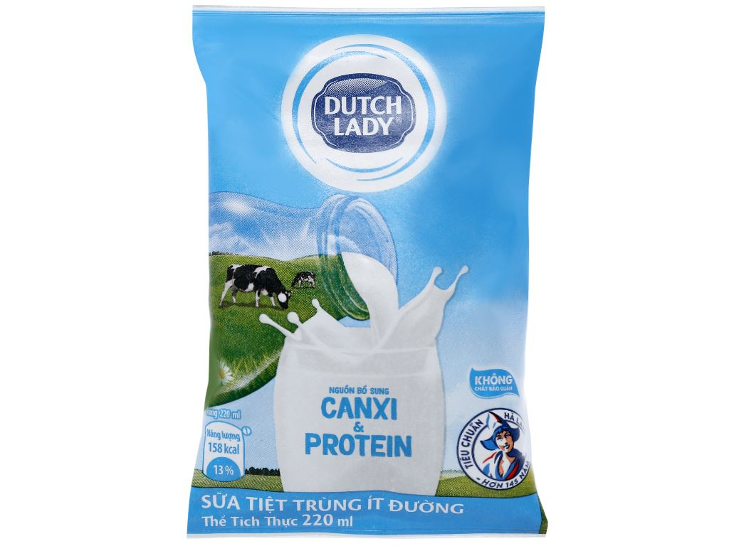 Sữa tiệt trùng ít đường Dutch Lady bịch 220ml 1