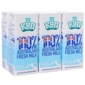 Lốc 6 hộp sữa tươi tiệt trùng LiF Kun không đường 200ml