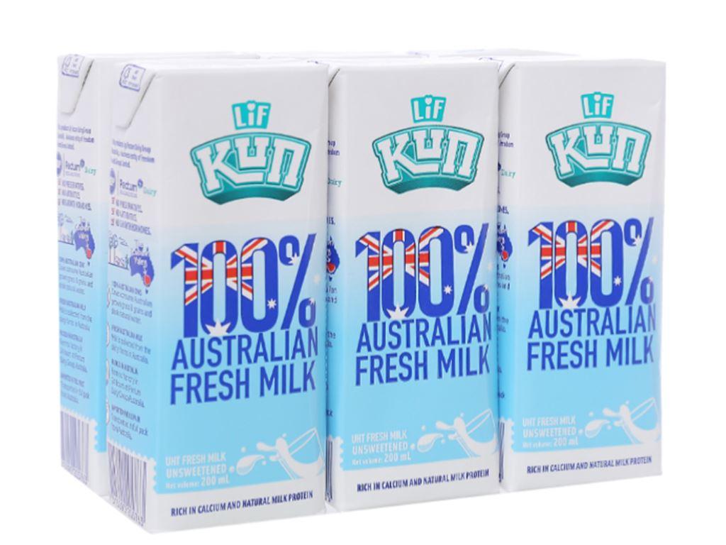 Lốc 6 hộp sữa tươi tiệt trùng LiF Kun không đường 200ml 1