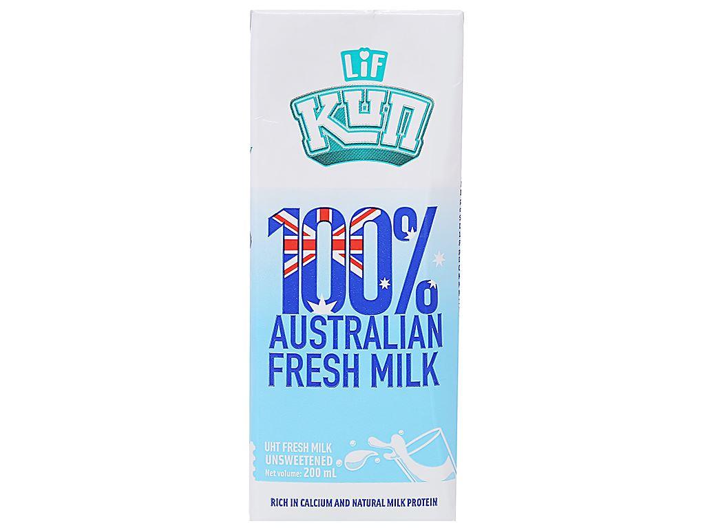 Lốc 6 hộp sữa tươi tiệt trùng LiF Kun không đường 200ml 2