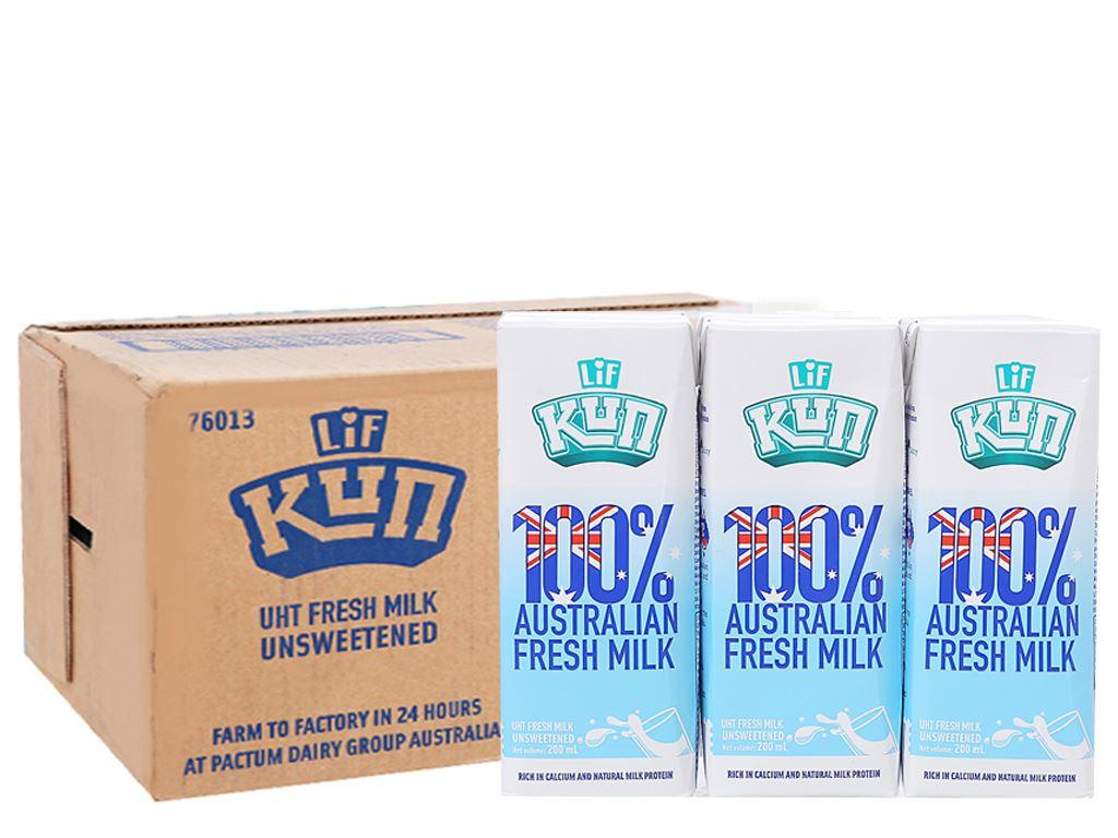 Thùng 24 hộp sữa tươi tiệt trùng không đường LiF Kun 200ml 1