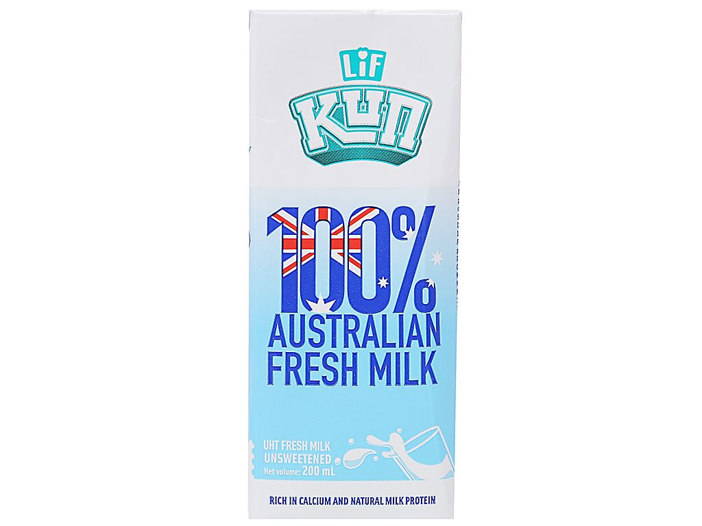 Thùng 24 hộp sữa tươi tiệt trùng không đường LiF Kun 200ml 3