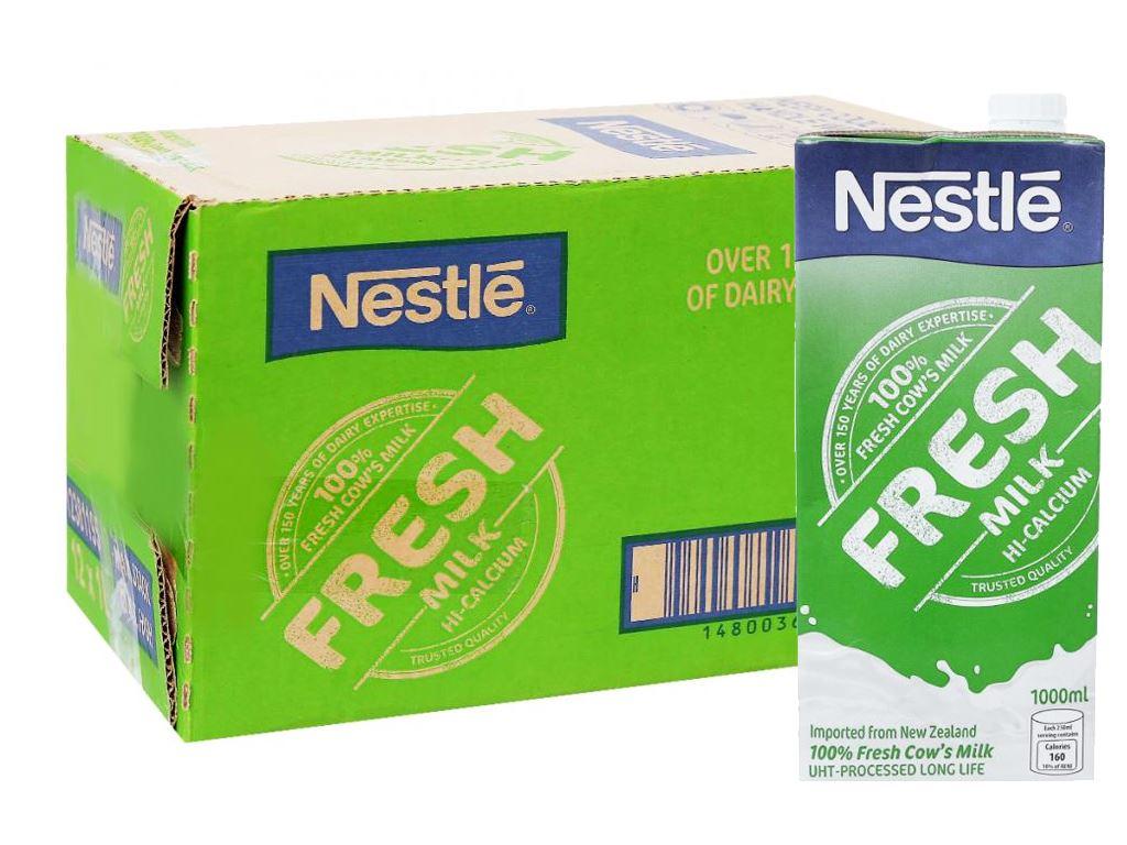 Thùng 12 hộp sữa tươi tiệt trùng nguyên chất Nestlé Fresh Milk 1 lít 1