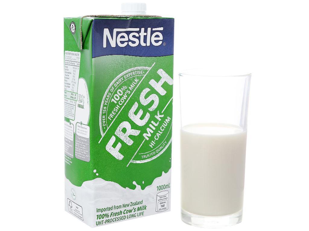 Thùng 12 hộp sữa tươi tiệt trùng nguyên chất Nestlé Fresh Milk 1 lít 2