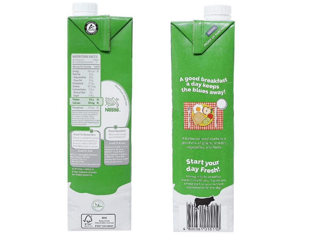Thùng 12 hộp sữa tươi tiệt trùng nguyên chất Nestlé Fresh Milk 1 lít 4