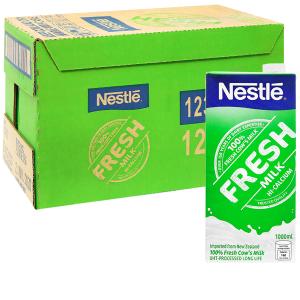 Thùng 12 hộp sữa tươi tiệt trùng nguyên chất Nestlé Fresh Milk 1 lít