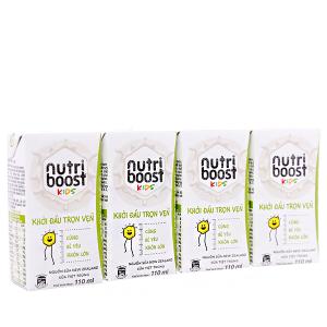 Lốc 4 hộp sữa tiệt trùng Nutriboost Kids Khởi Đầu Trọn Vẹn 110ml