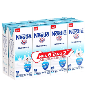 Lốc 6 hộp sữa tiệt trùng Nestlé NutriStrong có đường 180ml (tặng 2 hộp cùng loại)