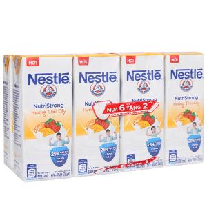 Lốc 6 hộp sữa tiệt trùng Nestlé NutriStrong hương trái cây 180ml (tặng 2 hộp cùng loại)