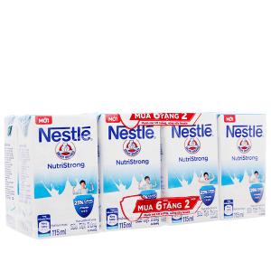 Lốc 6 hộp sữa tiệt trùng Nestlé NutriStrong có đường 115ml (tặng 2 hộp cùng loại)