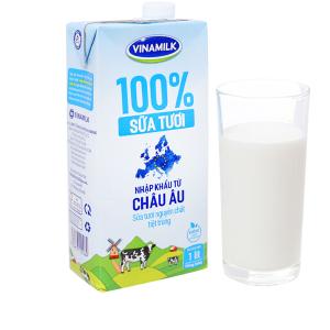 Sữa tươi nguyên chất không đường Vinamilk Nhập khẩu 100% hộp 1 lít