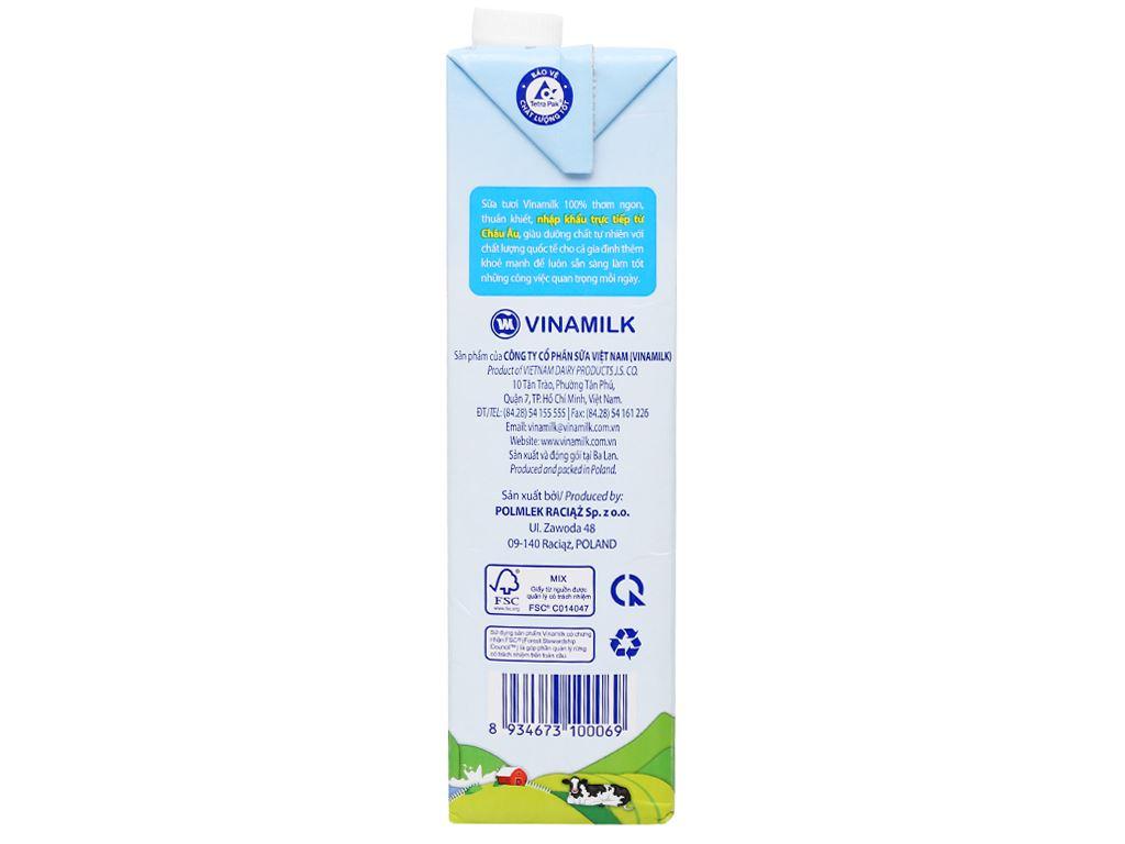 Sữa tươi nguyên chất không đường Vinamilk Nhập khẩu 100% hộp 1 lít 6