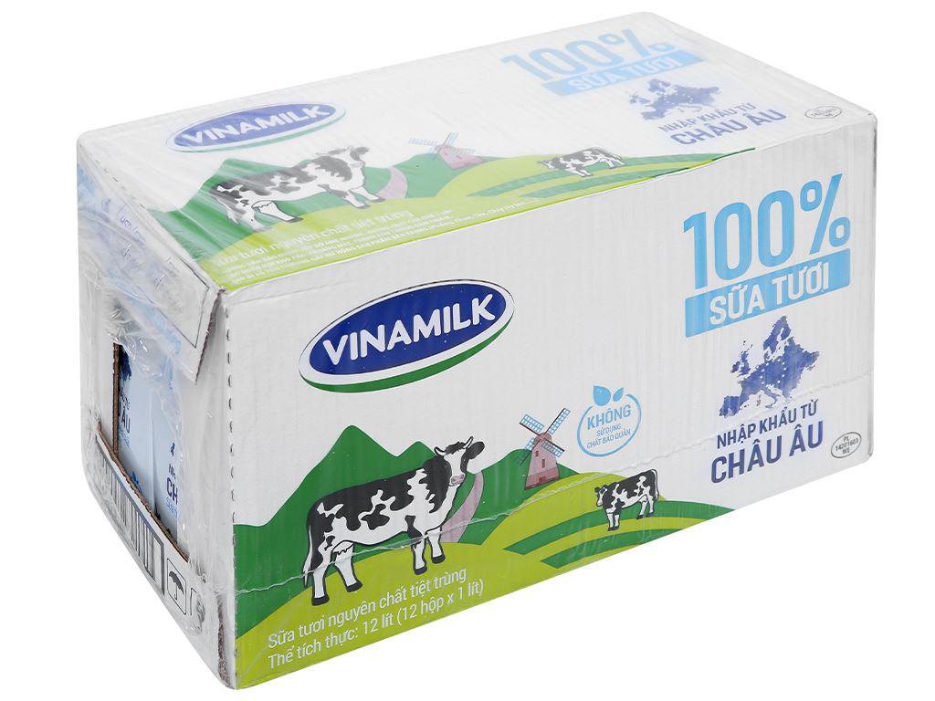 Thùng 12 hộp sữa tươi nguyên chất không đường Vinamilk Nhập khẩu 100% 1 lít 1
