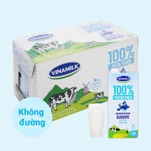 Thùng 12 hộp sữa tươi nguyên chất không đường Vinamilk Nhập khẩu 100% 1 lít