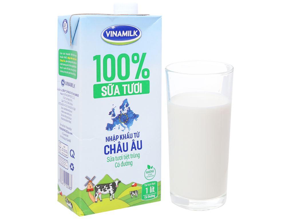 Thùng 12 hộp sữa tươi tiệt trùng có đường Vinamilk Nhập khẩu 100% 1 lít 2