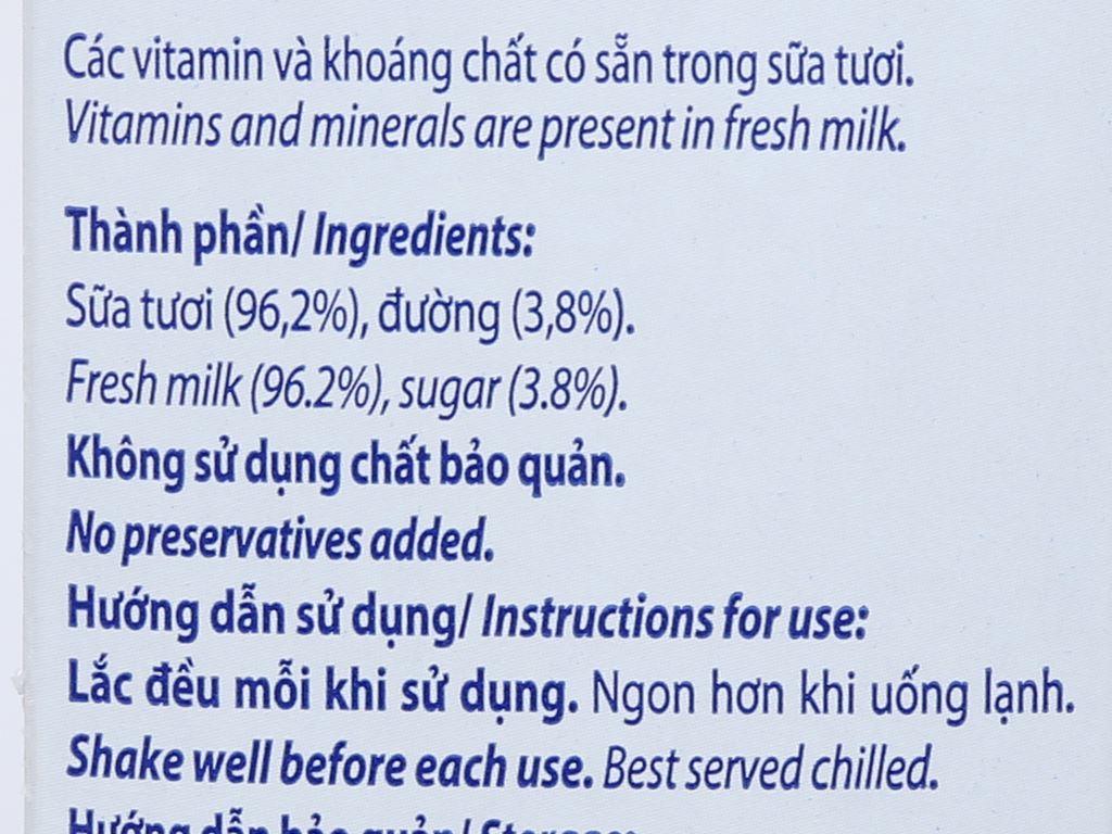 Thùng 12 hộp sữa tươi tiệt trùng có đường Vinamilk Nhập khẩu 100% 1 lít 7