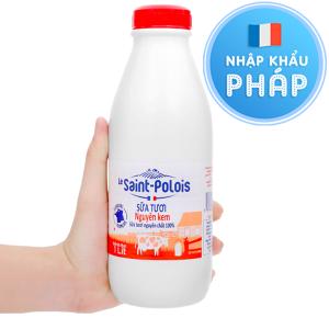 Sữa tươi nguyên kem không đường Le Saint Polois chai 1 lít