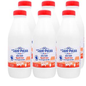 Lốc 6 chai sữa tươi nguyên kem Le Saint Polois 1 lít