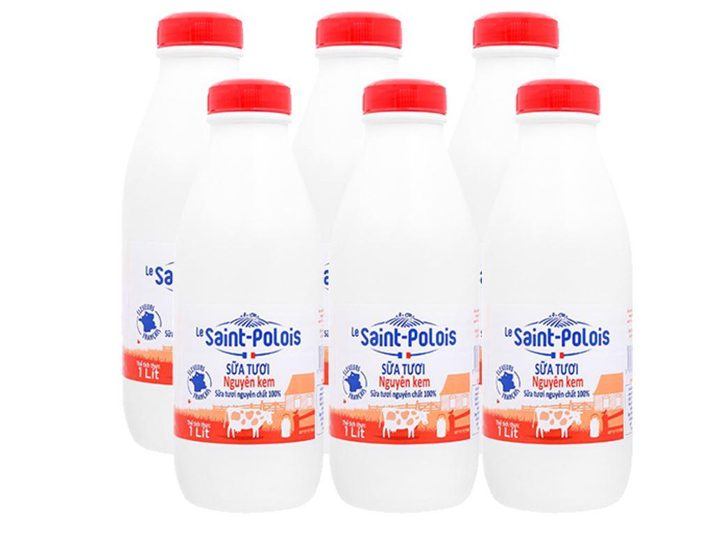 Lốc 6 chai sữa tươi nguyên kem Le Saint Polois 1 lít 1