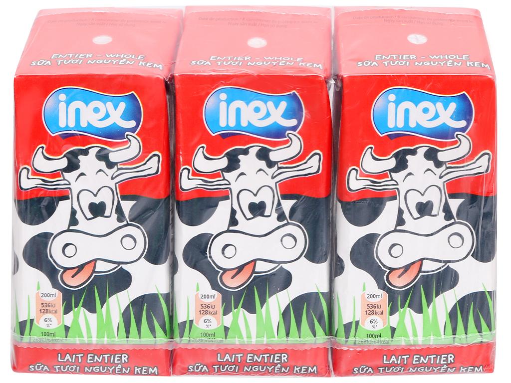Lốc 3 hộp sữa tươi nguyên kem không đường Inex 200ml 1