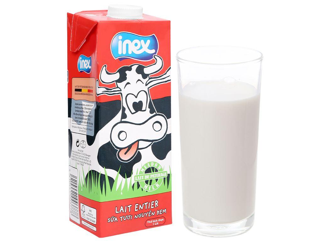Thùng 12 hộp sữa tươi nguyên kem không đường Inex 1 lít 2