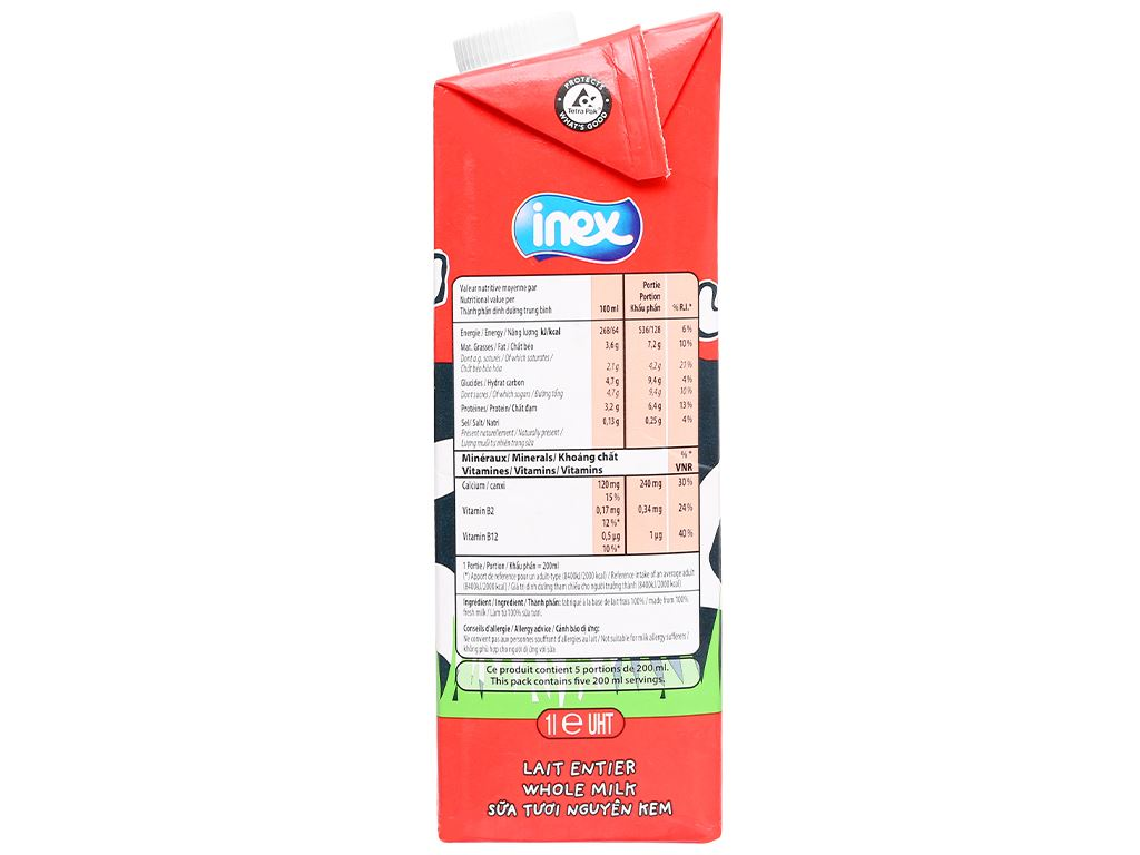 Thùng 12 hộp sữa tươi nguyên kem không đường Inex 1 lít 6
